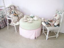 Bunnies by the Bay Hand Painted White Wooden Chair Pink Roses Off White Gorgeous