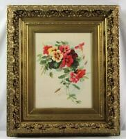 Vintage Paul De Longpre Ornate Gesso Framed Pansy Litho Print