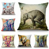 Watercolor Elephant Decor 18inch Cotton Linen Throw Pillow Case Cushion Cover