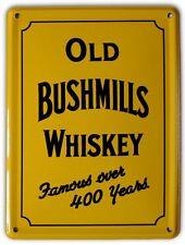 BUSHMILLS IRISH WHISKEY YELLOW Small Metal Tin Pub Sign