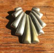 Laton Taxco Sterling Silver and Brass Ruffle Pin Brooch Made in Mexico
