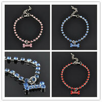 New Crystal Diamante Bone Rhinestone Pendant Pet Necklace New Collar Dog Jewelry