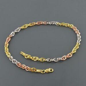 10K MULTI COLOR GOLD ELEGANT 3.8MM WIDE DOUBLE CABLE LINK 10 INCH ANKLET