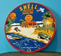 VINTAGE SHELL GASOLINE PORCELAIN GAS OIL SERVICE MASSACHUSETTS STATION PUMP SIGN
