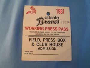 1981 Ryne Sandberg Debut Pitch Run/Scored Ticket Pass Sept/27 Braves Vs Phillies