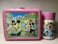 Vtg Pink Plastic Aladdin Disney Minnie & Mickey Mouse Paris Lunchbox + Thermos