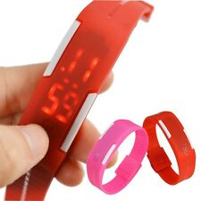Fashion Red LED Women/Men Silicone Rubber Band Touch Digital Sport Wrist Watch