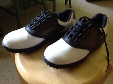Used Womens Size 6 Foot Joy Golf Shoes.  Brown, black & white saddles