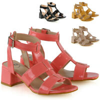 Womens Strappy Sandals Low Block Heel Ladies Open Toe Caged Shoes Size 3-8