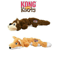 KONG Scrunch Knots Dog Toy Stretchy Tugger Squeaky Plush Fox Squirrel Animal