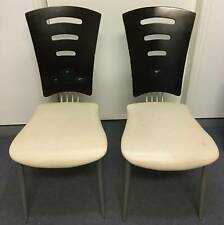 BARGAIN LIKE NEW Solid Timber Leather Designer Dining Chairs White 2pic set SALE