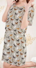 Horse Women Short Sleeve Waist String Loose Dress b124 acc03434
