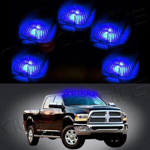 5x Cab Marker Running Light Smoke Lens+5x168 Blue 5050 LED Lights For Chevy GMC