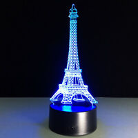 The Symbol Of Paris ! 3D Eiffel Tower Night Light USB Color Changing LED Lamp
