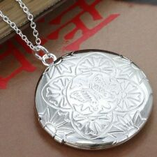 925 SILBER PL Medallion mit Kette Foto Anhänger Amulett offnen Medaillon Amulett