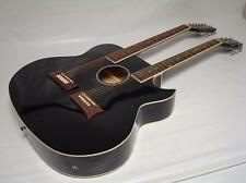 New 6/12 String Acoustic Electric Double Neck Guitar, Cutaway, Black /w Gig Bag