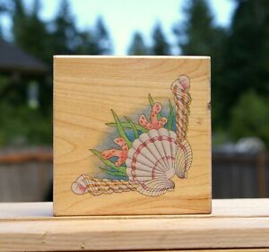 """Sea Shell Corner Coral 3 1/4"""" Wood Mounted Rubber Stamp by Stamps Happen #50041"""