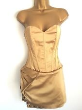 MANOUSH superbe robe bustier Punky gold robe Avec Rivets Taille 36 Neuf Prix Conseillé 490 £