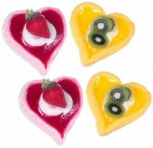 Dollhouse Miniature Large Heart Tarts Set of 4 by Falcon Miniatures