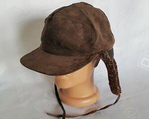 VINTAGE AUTHENTIC SALON BROWN VELOUR LEATHER WINTER USHANKA CAP HAT:US7 3/8;EU59