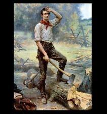 Abraham Lincoln Chopping Wood PHOTO Rail Splitter Painting, Republican President