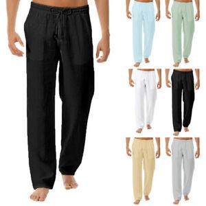 Beach Mens Casual Drawstring Long Trousers Long Baggy Yoga loose waist pants