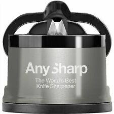 AnySharp Pro Metal Knife Sharpener With Suction Brushed Stainless