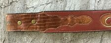 "Vintage Sz 34 Circle Y Genuine Lizard Western Belt Cutouts Brown Leather 1.7"" W"