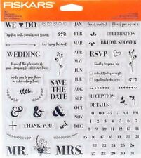 DIY Wedding Invitation Fiskars Clear Acrylic Stamp Set 146740-1001 NEW!