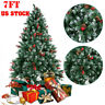 7Ft Christmas Tree Snow Flocked Hinged Artificial W/Decoration and Metal Stand