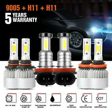 9005 + H11 + H11 6000K 5715W 857250LM Combo CREE LED Headlight Sets Hi Low Bulbs