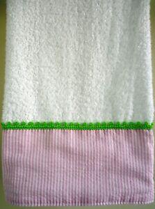PINK SEERSUCKER Hand Towel (1) White 100% Terry Cotton Green Trim NEW UtaLace