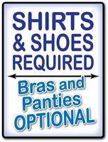 2 - Shirt Shoes Required STICKER Decal Room Sign Man Cave Garage Shop FUNNY GIFT
