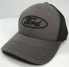 Ford Hat / Cap - Gray & Black W/ Black Ford Oval Logo / Emblem (Licensed)
