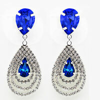 Luxury Bridal Diamond Shine Rhinestone Dark Royal Blue Drop Earrings E859