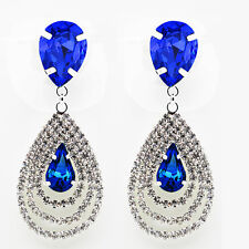Lusso Sposa Diamante Splendenti Strass Scuro Blu Reale Orecchini A Goccia E859