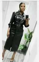 Zara Faux Leather Black Long Sleeve Midi Shirt Dress Size L BNWT