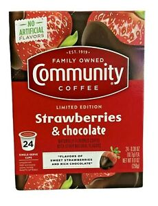 Community Strawberries & Chocolate Limited Edition K-Cup Keurig Coffee Pods (24)
