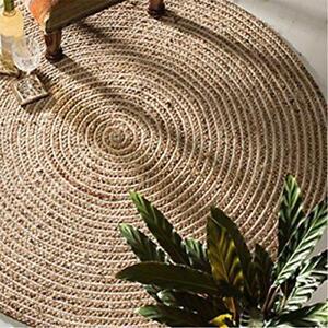 Fair Trade Jute & Cotton Braided Natural Round Indian Rug 90 120 & 150cm