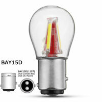 1157 BAY15D Glass COB Car Tail Brake Light Reverse Bulbs DC LED Filament Bulb