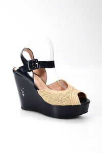 Robert Clergerie  Womens Woven Ankle Strap Wedge Sandals Black Size 40 10