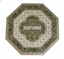"30"" White Marble Side Table Top Pauashell Filigree Gemstone Inlay Kitchen Decor"
