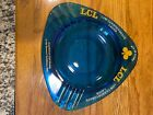 Vintage Glass Blue Bar Ashtray. LCL - Low Carbohydrate Lager. Mancave ~ Home Bar