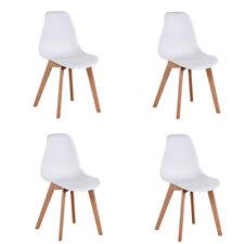 Pack 4 Sillas de comedor Silla diseño nórdico estilo pies de madera Blanco