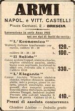 Pubblicità vintage armi fucile caccia Brescia Castelli old advertising reklameA1