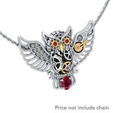 Steampunk Owl Ruby & White CZ Sterling Silver & Gold Pendant Peter Stone Jewelry
