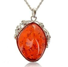 "Huge Baltic Faux Red Amber White Gold Plated 2.75"" Pendant + 21"" Chain Necklace"