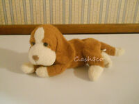 "Russ Berrie mini puppy dog 6"" long plush bean bag ""Bundles"" Luv Pets      K5"