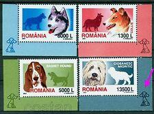 2001 Dogs,Husky,Shepherd,Basset,Collie,Hunde,Chiens,Cani,Romania,5574,TAB/C,MNH