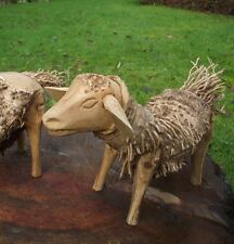 1 x WOODEN GARDEN SHEEP- Bamboo root Sheep- Handmade & Fair Trade- 25cm long